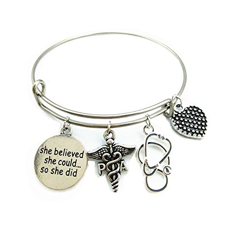 Stainless Steel Adjustable Wire Bangle PA Physician Assistant Caduceus Charm Bracelet Trendy Graduation Jewelry Gifts