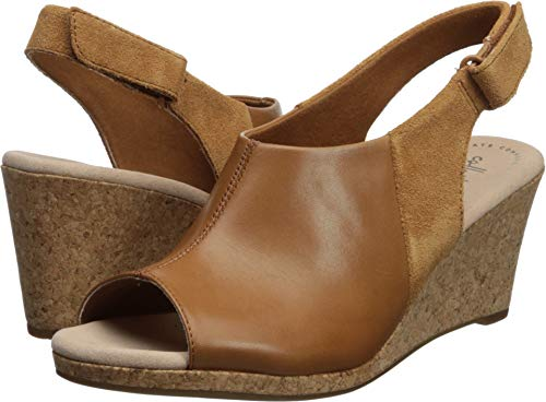 CLARKS Women's Lafley Jess Wedge Sandal tan Leather/Suede Combi 090 M US