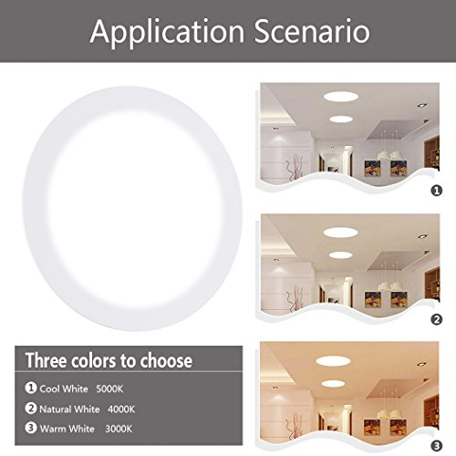 Ceiling Lights, TryLight 12 Watts 6 Inch Dimmable Round LED Recessed Lighting Ultra-Thin for Home Office Commercial Lighting, 4000K Cool White by TryLight (Image #8)