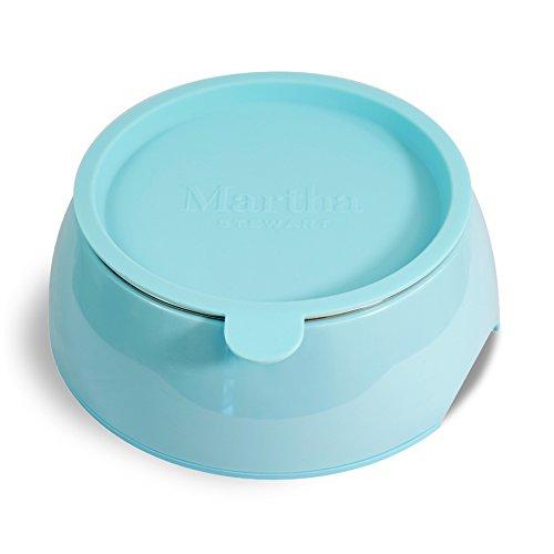 Melamine Bowl Dog (Martha Stewart Melamine Stainless Steel Pet Bowl Set with Lid, Blue, 5 fl. oz.)