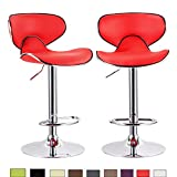 Cheap WOLTU OLTU 2red-c Set of 2 Contemporary Bar Stools Counter Stool Adjustable Synthetic Leather Seat and Back Swivel Hydraulic Kitchen Stools Chairs Metal Frame,Red