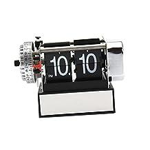 MonkeyJack Metal Retro Auto Flip Single Stand Digital Display Desk Table Clock -Black