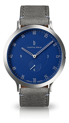 Lilienthal Berlin Watch - Made in Germany - Designed in Berlin. Model L1 with Stainless Steel Case (Size: 42.5 mm, Case: Silver/Dial: Blue/Strap: Grey)