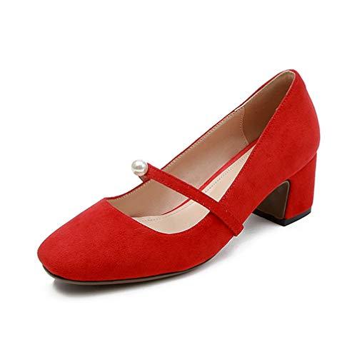 Women's Pumps,Spring Chunky Heel Sweet Pink Black Mary Jane Gentlewoman Shoes