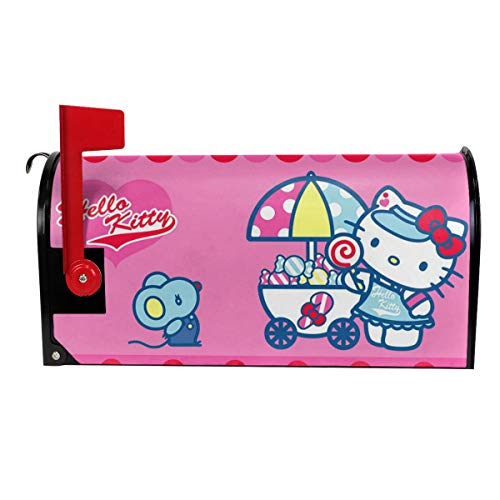 KSSxEDC Magnetic Mailbox Cover Hello Kitty Baby Shower Post Box Cover Wraps Garden Yard Home Decor for Outside
