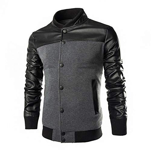 (Men's PU Leather Patchwork Jacket Bomber Single-Breasted Standing Collar Coat Male Coat Dark Gray M)