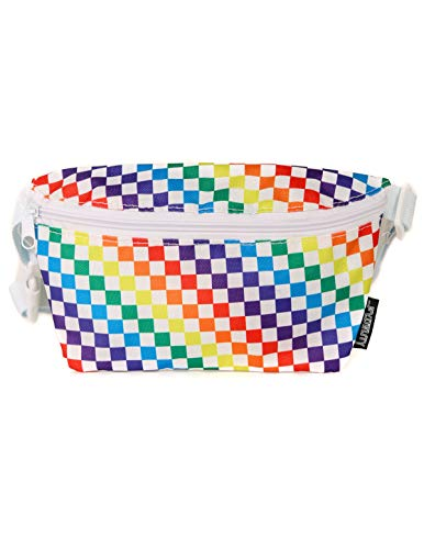 FYDELITY Fanny Pack Belt Bag Ultra Slim Cute LGBT Gay Pride Flag Rainbow White