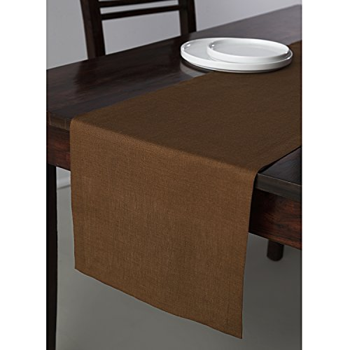 Solino Home 100% Pure Linen Table Runner Athena, Natural Fabric Handcrafted Runner, Brown 14 x 48 Inch