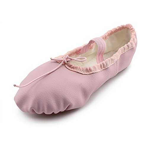 Kid Girl's Classic Leather Practise Ballet Dancing Yoga Shoes,Pink,12 M US ()