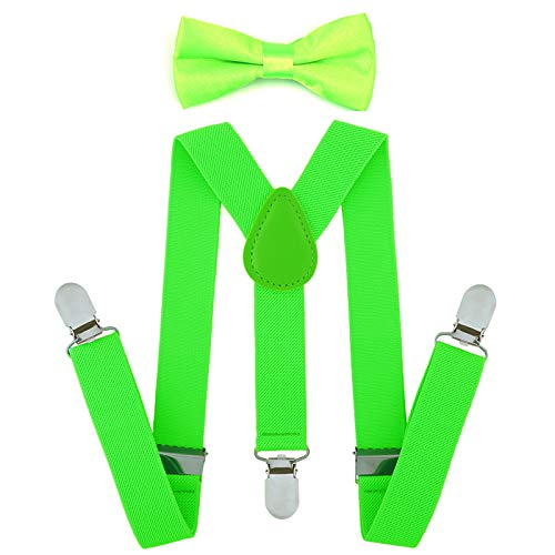 Child Kids Suspenders Bowtie Set - Adjustable Suspender Set for Boys and Girls (Fluorescent Green) for $<!--$9.99-->
