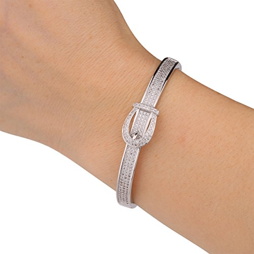 GULICX Silver Tone Belt Buckle Bangle Bracelet Bling Jewelry White Gold Electroplated (Silver Tone Buckle)