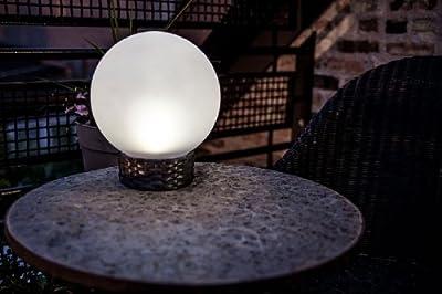 Britta Products Solar Garden Globe LED Centerpiece Table Light, Rattan Base - Cool White LED Lighting
