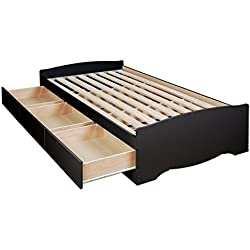 Prepac Black Sonoma Twin Bookcase Platform Storage Bed