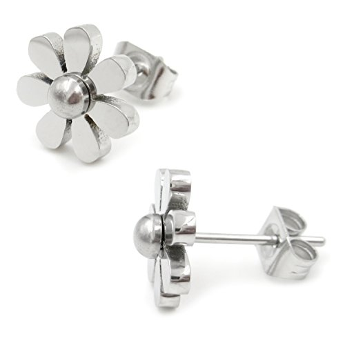 (Stainless Steel Cute Flower Post Stud Earrings For Women Girls 9mm)