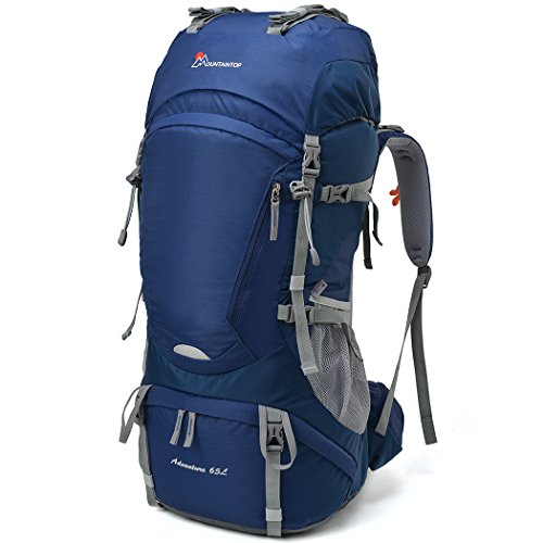 Mountaintop 65L Outdoor Hiking Backpack Camping Backpack Internal Frame Bag, Sapphire Blue