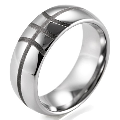 SHARDON Men's 8mm Domed Tungsten Ring with Engraved Basketball Pattern Size 7