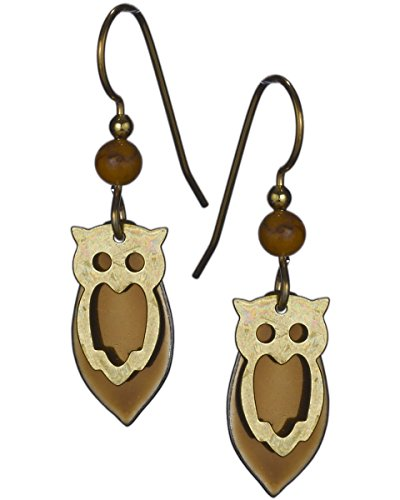 Gold-tone & Copper-tone Tear Drop Owl French Wire Earrings by Silver Forest