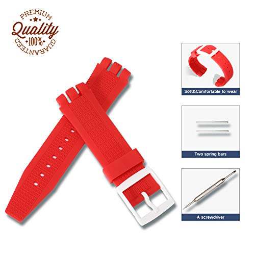 Silicone Rubber Watch Straps Bands Waterproof for Swatch,Compatible Lug Strap,Non-Slip Surface,Ultra-Thin, Accessories with a Screwdriver Two Spring Bars (Red, ()