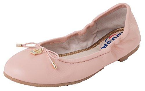 ABUSA Damen Leder / Wildleder Ballett Flache faltbare Spitzschuh Schuhe Flats-Leder Pink