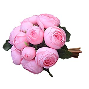 OYILAN Wedding Artificial Flowers Tea Roses Bouquet Simulated Camellia Bride Holding Flowers WF7 59