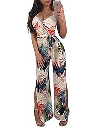 Womens Leaf Print Halter V-Neck Side Split Long Wide Leg Jumpsuit Romper