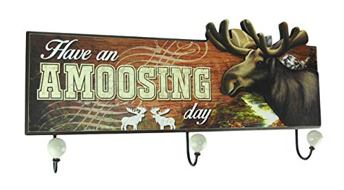 (World Of Wonders Have an Amoosing Day Rustic Moose Wall Plaque with Hooks )