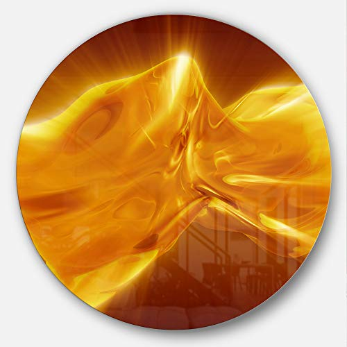 (Designart Plasmas and Liquid with Fiery Shine Abstract Round Print Metal Wall Art - Disc of 11 11'' H x 11'' W x 1'' D 1P Gold)