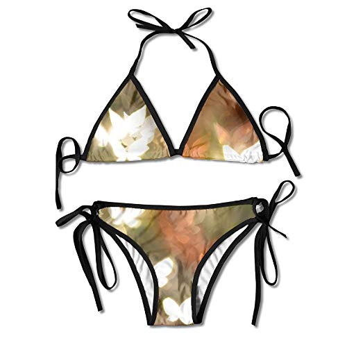 Women's Thong Bikini Suit Swimsuit Abstract Butterflies Shape Art Sexy Bikini Set 2 Piece
