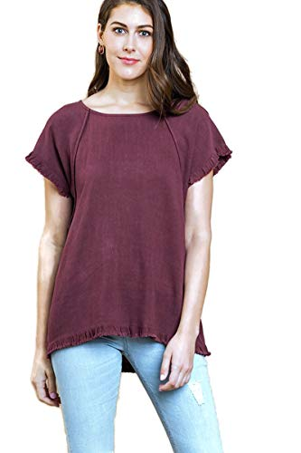 Pintuck Linen Shirt - Umgee Women's Pintuck High Low Fringed Top (Small, Maroon)