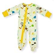 Earthy Organic Baby Sleeper 2-Way Zipper Pajamas Boy Girl (9 Sizes: Preemie-3T) 100% Organic Cotton (3M- Footed, Forest Friends)
