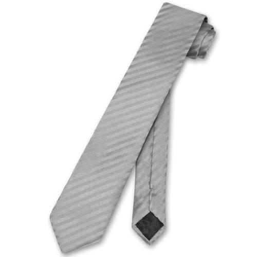 "Vesuvio Napoli NeckTie SILVER GREY Vertical Stripes SKINNY 2.5"" Men's Neck Tie"