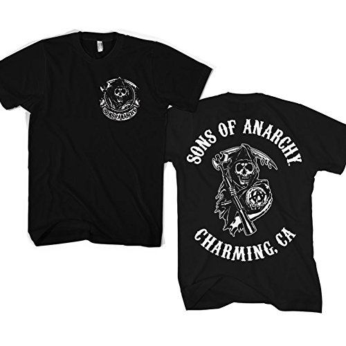 Officially Licensed Merchandise SOA Full CA Backprint T-Shirt (Black), Large (Sons Of Anarchy Shirt)