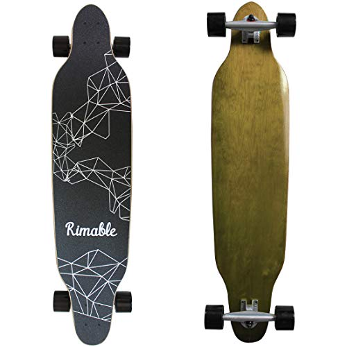 RIMABLE 42 Inch Freestyle Topmount Longboard (Brown Deck Black Wheels)