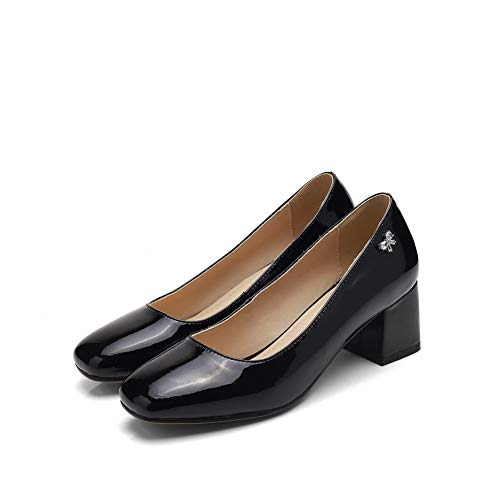 Solid Urethane Casual BalaMasa Structured Womens Black APL10911 Shoes Pumps vw5gq1Agx