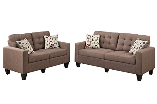 Poundex F6904 Bobkona Windsor Linen Like 2 Piece Sofa And Loveseat Set,  Light Coffee Part 95
