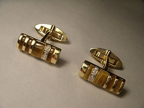 Handsome 14K Yellow Gold Tiger's Eye Diamond Mens Cufflinks by GEMSforyou