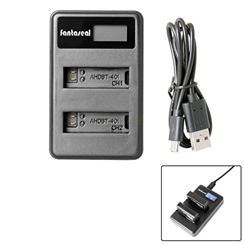 Fantaseal LCD Smart Fast Charger for GoPro USB Charger GoPro AHDBT-401 Battery Charger GoPro Fast Dual Charger w/LCD Charging-Status Indicator + Smart Protection Circuit for GoPro Hero 4