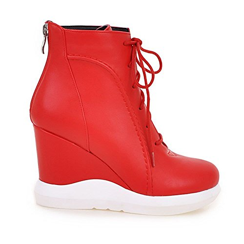 Cheville 8 Coin Glissement Sur Mi Les Pull 4 5 Femmes Coins D'hiver Bloc 7 Noir 6 3 Femmes Taille Chaussures De Dames La 6 9 bottes Des Haute Rouge 5 Decostain Zip De 5wZfq