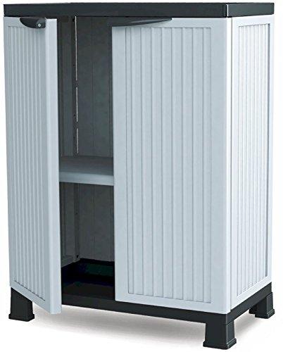 Utility Storage Base Cabinet (Plascoline Noble 1-Shelf Plastic Utility Storage Cabinet with Doors and Floor Risers, 26.7