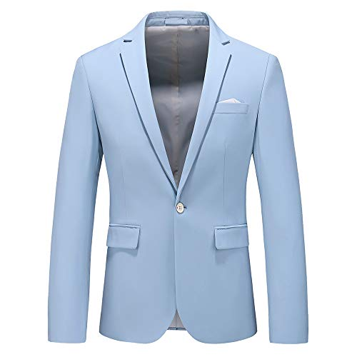 (Man's Slim Fit Casual One Button Notched Lapel Turn-Down Collar Blazer Jacket US Size 34 (Label Size XL) Light)