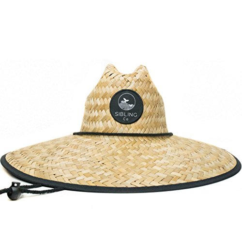 Sibling Co Sun Hat For Men and Women 100% Sea Straw Hat With Wide Brim and Adjustable Chin Strap