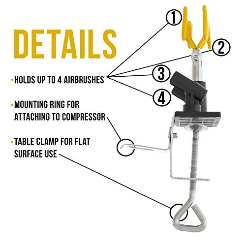 Master Airbrush Brand Universal Clamp-On Airbrush Holder that Holds Up to 6 Airb