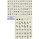 Large Print Keyboard Non-Transparent Opaque Stickers for Desktop and Laptop. Black Large Print Letters Labels on White / Off White / Ivory / Beige Lexan Plastic and 3M Adhesive
