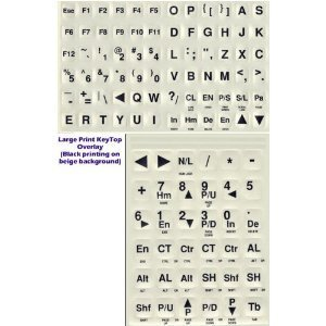 Large Print Keyboard Non-Transparent Opaque Stickers for Desktop and Laptop.  Black Large Print