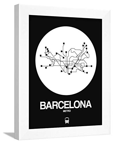 ArtEdge Barcelona Subway Map White Wall Art Framed Print, 16x12, ()
