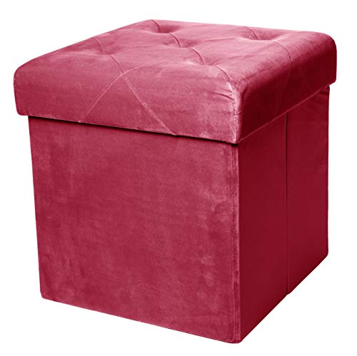 Red Co. Square Luxury Storage Ottoman with Padded Seat, Upholstered Collapsible Folding Bench & Foot Rest, Velvet Burgundy, 15 Inches