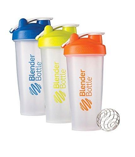28 Oz. Hook Style Blender Bottle W/ Shaker Bundle-Clear Blue/Green/Orange