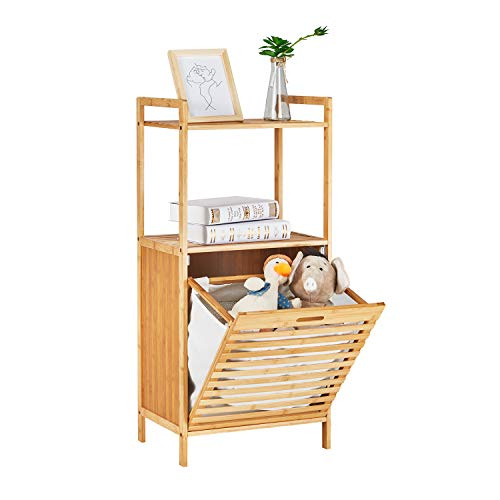 VIAGDO Bamboo Floor Cabinet Bathroom, Tilt Out Laundry Hamper, Free-Standing Storage Organizer Unit with Removable Liner and Shelf, Console Sofa Side Table for Bedroom Kitchen 18.11″L x 13″W x 39.37″H
