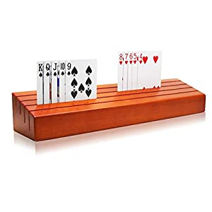 Exqline Wooden Playing Card Holder Tray Racks Organizer for Kids Seniors Adults - 13.8 inch 3.1 Inch Extended Versions Long Enough for Bridge Canasta Card Playing