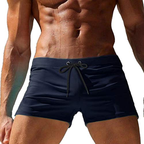COOFANDY Men's Swimming Trunk Surf Board Shorts Quick Dry Boxer Brief Swimsuit Navy Blue